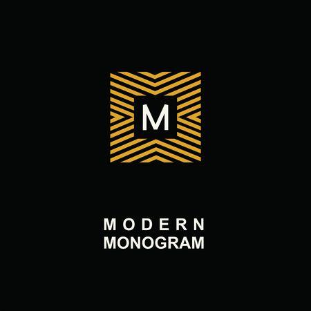 minimal: Modern monogram, emblem, logo. Square of the parallel stripes.