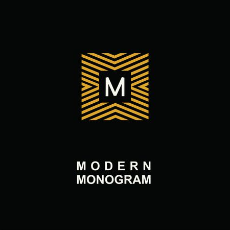 Modern monogram, emblem, logo. Square of the parallel stripes.