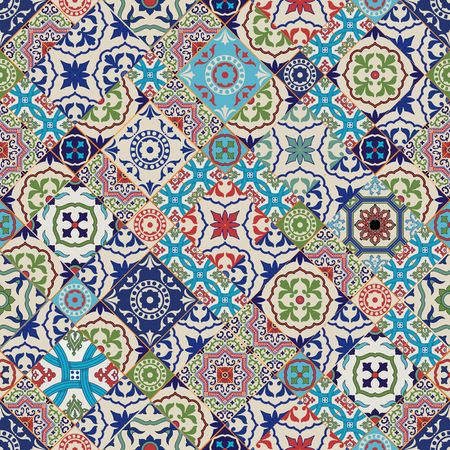 textile: Mega Gorgeous seamless patchwork pattern from colorful Moroccan tiles, ornaments. Can be used for wallpaper, pattern fills, web page background,surface textures.