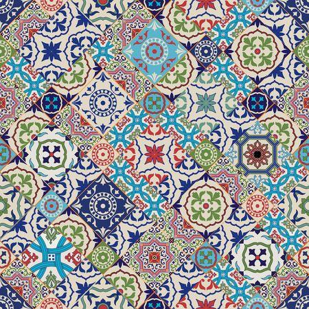 textil: Patrón de mosaico Mega magnífico fluida de coloridos azulejos marroquíes, adornos. Puede ser utilizado para el papel pintado, patrones de relleno, de fondo página web texturas de la superficie.