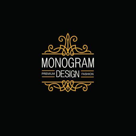 Elegant Line Art Logo and Monogram Design, vector template. Illustration