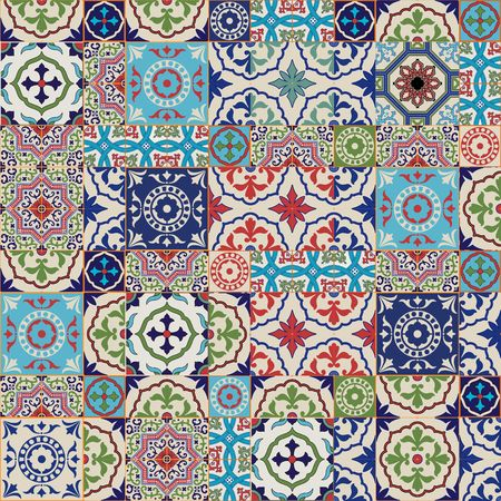 spanish: Mega Gorgeous seamless patchwork pattern from colorful Moroccan tiles, ornaments. Can be used for wallpaper, pattern fills, web page background,surface textures.