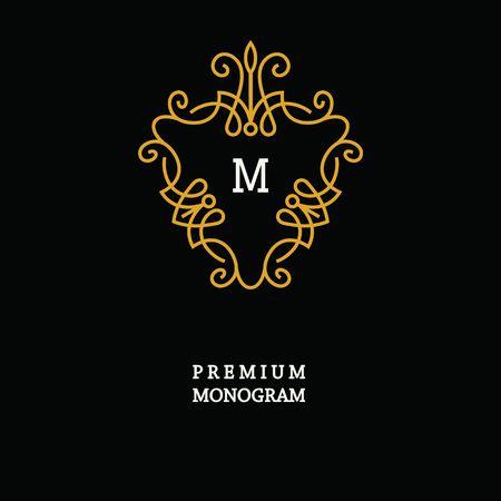 women subtle: Elegant Line Art Logo and Monogram Design, vector template. Illustration