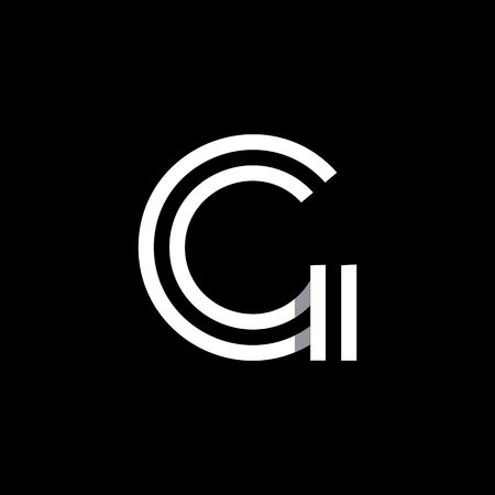 letter: Capital letter G. Overlapping with shadows logo, monogram trendy design.
