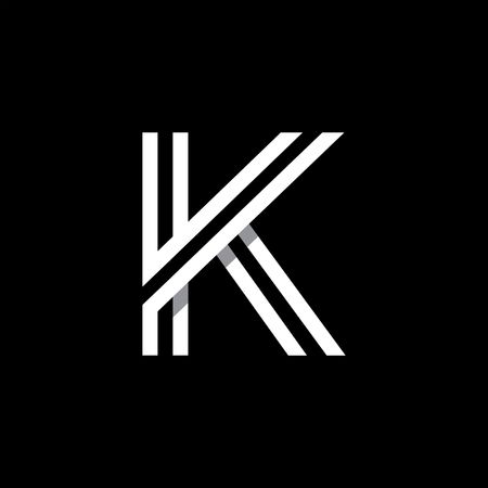 letter k: Capital letter K. Overlapping with shadows logo, monogram trendy design. Illustration