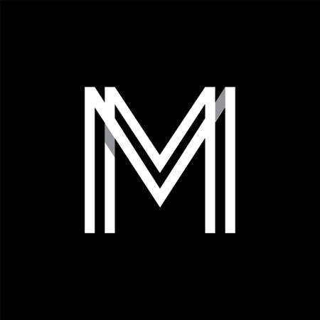 shadow: Capital letter M. Overlapping with shadows logo, monogram trendy design.