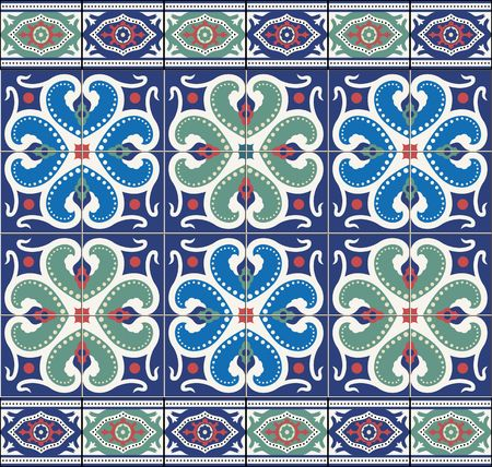 azulejo: Gorgeous seamless  pattern  white colorful Moroccan, Portuguese  tiles, Azulejo, ornaments. Can be used for wallpaper, pattern fills, web page background,surface textures.