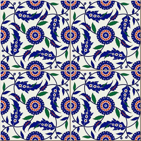 flower ornament: Gorgeous seamless  pattern from colorful floral Turkish, Moroccan, Portuguese  tiles, Azulejo, ornaments.