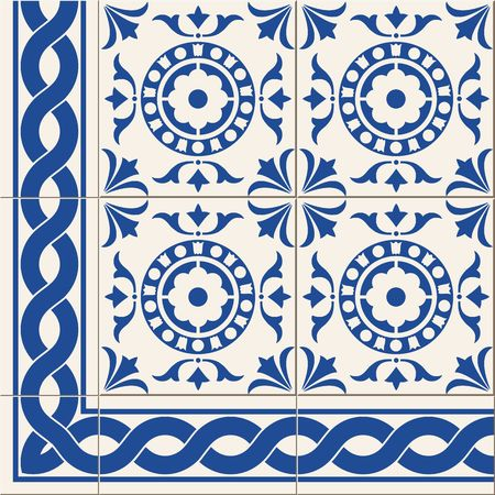 Gorgeous seamless pattern from dark blue and white floral Turkish, Moroccan, Portuguese Azulejo tiles and border, ornaments.