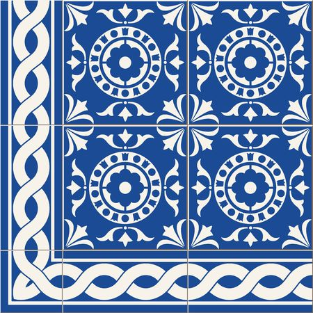 ornaments floral: Gorgeous seamless  pattern from dark blue and white floral Turkish, Moroccan, Portuguese  Azulejo tiles and border, ornaments.
