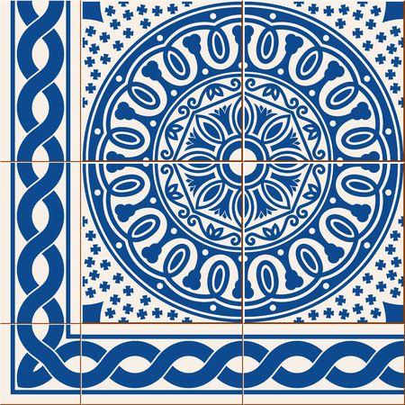 Herrliche nahtlose Muster von dunkelblau und weißen Blumen türkisch, marokkanisch, portugiesischen Azulejos und Grenze, Ornamente.