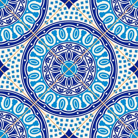 Gorgeous seamless  pattern from dark blue and white floral Turkish, Moroccan, Portuguese  Azulejo tiles , ornaments.