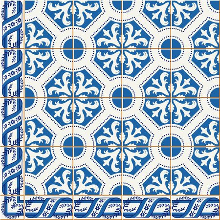 Gorgeous seamless pattern from dark blue and white floral Turkish, Moroccan, Portuguese Azulejo tiles and border, ornaments. Vetores