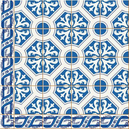 Herrliche nahtlose Muster von dunkelblau und weißen Blumen türkisch, marokkanisch, portugiesischen Azulejos und Grenze, Ornamente. Vektorgrafik