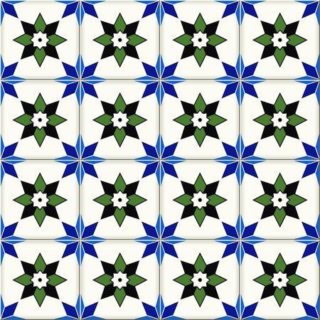 Herrliche nahtlose Muster von dunkelblau und weißen Blumen türkisch, marokkanisch, portugiesisch Azulejos, Ornamente. Islamische Kunst.