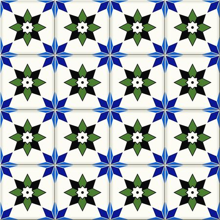 Gorgeous seamless  pattern from dark blue and white floral Turkish, Moroccan, Portuguese  Azulejo tiles , ornaments.  Islamic Art.