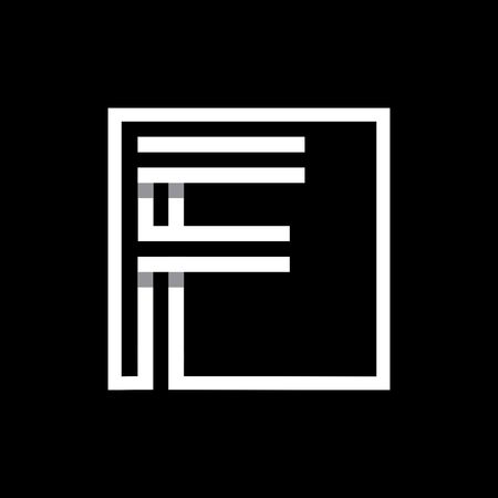 F capital letter enclosed in a square.