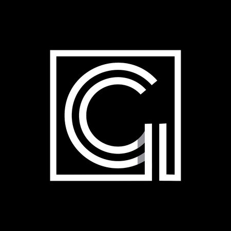 G capital letter enclosed in a square. Ilustracja