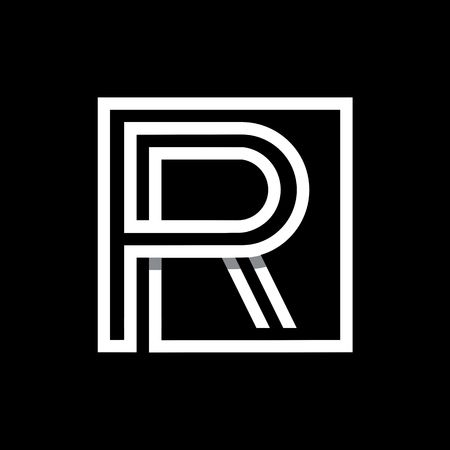 R: R capital letter enclosed in a square. Illustration