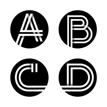 Capital letters A, B, C, D.
