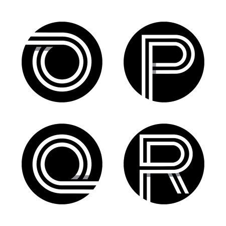 Les lettres majuscules O, P, Q, R.