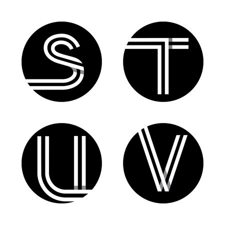 u s: Capital letters S, T, U, V. From double white stripe in a black circle. Illustration