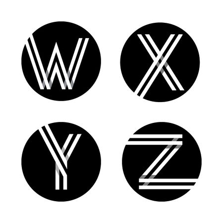 letter x: Capital letters W, X, Y, Z. From double white stripe in a black circle.
