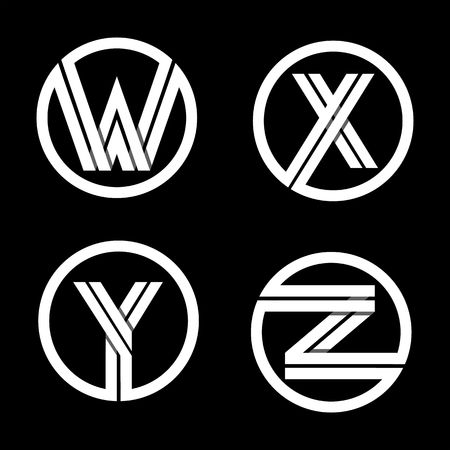 black shadows: Capital letters W, X, Y, Z. From double white stripe in a black circle.  Overlapping with shadows. Logo, monogram, emblem trendy design. Illustration