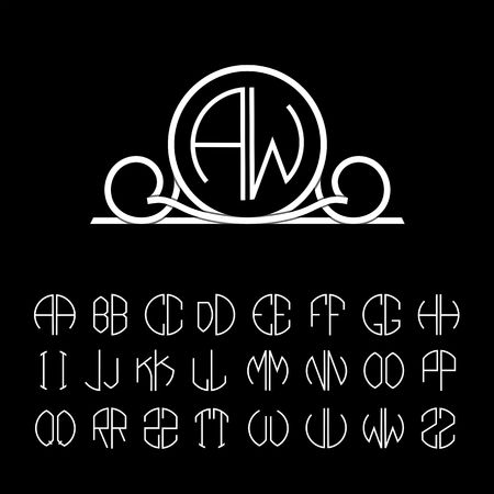 line art: Elegant line art logo design . Set  template letters to create monograms of two letters in scribed in a circle.