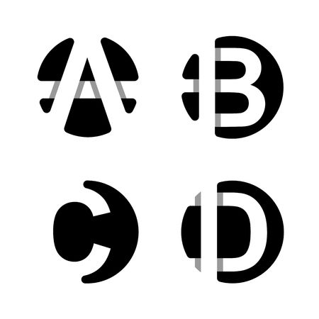 Capital letters A, B, C, D. From  white stripe in a black circle.   Overlapping with shadows. Logo, monogram, emblem trendy design. Illustration