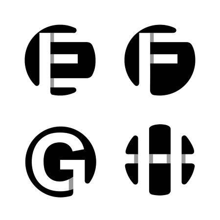 logotype: Capital letters E, F, G, H. From white stripe in a black circle.  Overlapping with shadows. Logo, monogram, emblem trendy design.