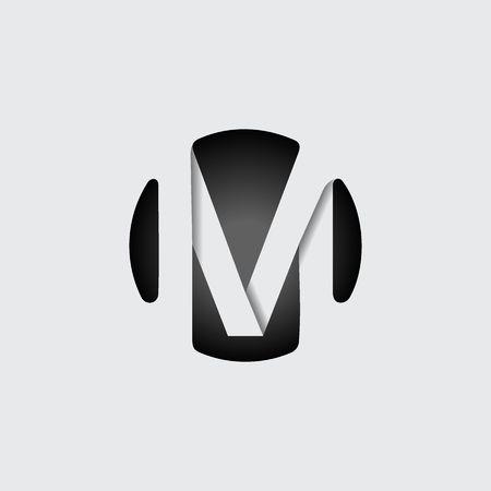 Capital de la letra M. Hecho de rayas blancas anchas que solapan con las sombras. Logotipo, monograma, emblema de diseño de moda.