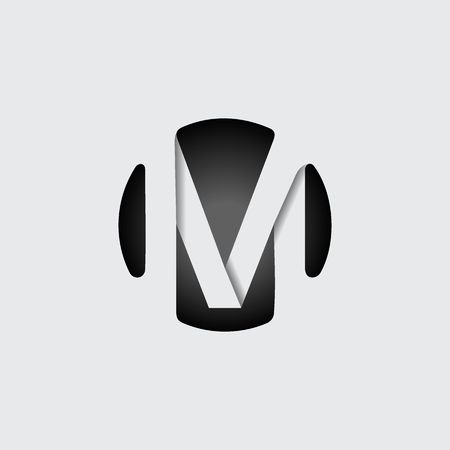 Capital letter M. Made of wide white stripes Overlapping with shadows. Logo, monogram, emblem trendy design. Иллюстрация