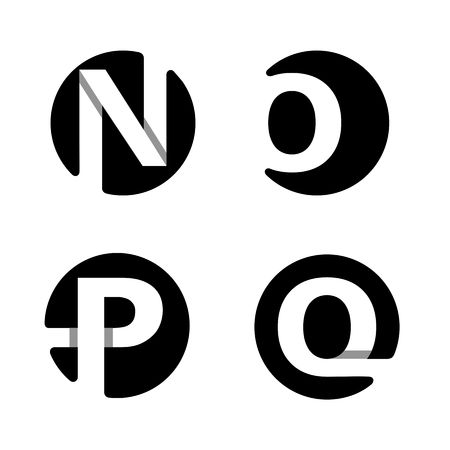 black shadows: Capital letters N, O, P, Q. From white stripe in a black circle.  Overlapping with shadows. Logo, monogram, emblem trendy design.