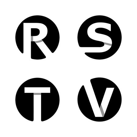 initials: Capital letters R, S, T, V. From white stripe in a black circle.  Overlapping with shadows. Logo, monogram, emblem trendy design.