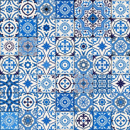 Mega Gorgeous seamless patchwork pattern from dark blue and white Moroccan, Portuguese  tiles, Azulejo, Arabic ornament.