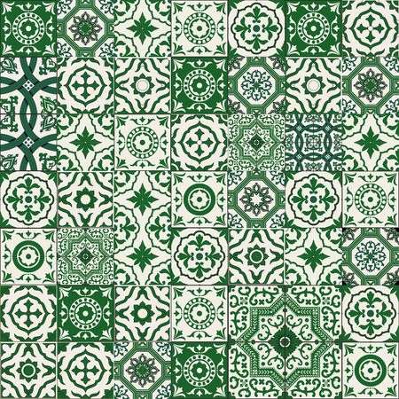 Mega Gorgeous seamless patchwork pattern from dark green and white Moroccan, Portuguese  tiles, Azulejo, Arabic ornament. 向量圖像
