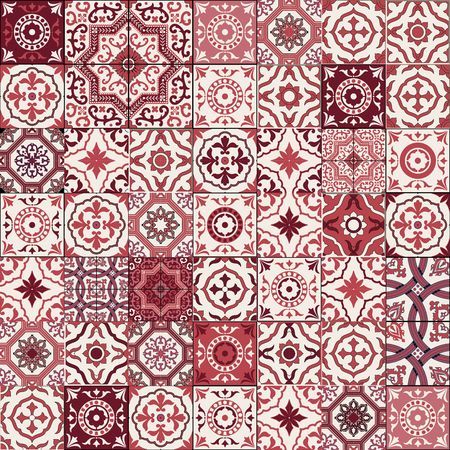 Mega Gorgeous seamless patchwork pattern from dark red and white Moroccan, Portuguese  tiles, Azulejo, Arabic ornament.