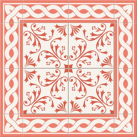 azulejo: Gorgeous seamless  pattern from Peach stylish color. Floral Turkish, Moroccan, Portuguese  Azulejo tiles and border, ornaments. Illustration