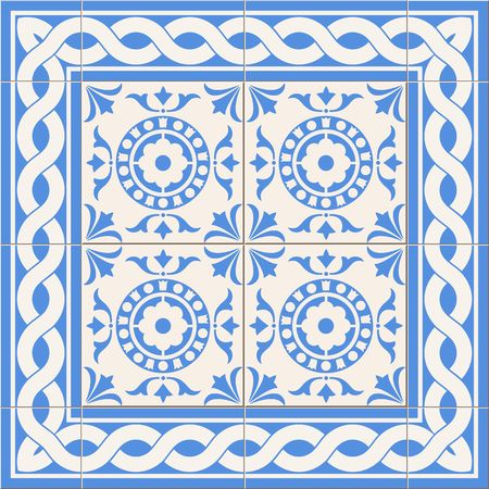 Gorgeous seamless  pattern from  blue  and white floral Turkish, Moroccan, Portuguese  Azulejo tiles and border, ornaments. Illustration