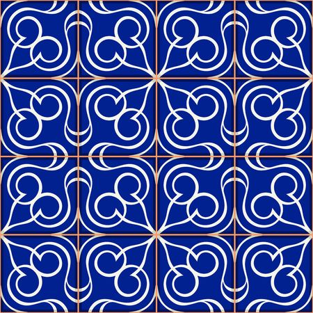 earthenware: Gorgeous seamless  pattern  white Turkish, Moroccan, Portuguese  tiles, Azulejo, Arabic ornament.
