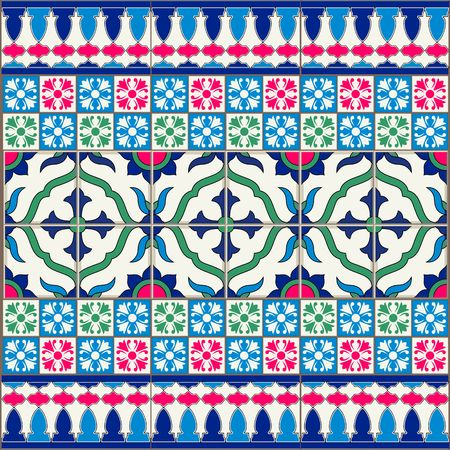 tiles: Gorgeous seamless  pattern  white Turkish, Moroccan, Portuguese  tiles, Azulejo, Arabic ornament.