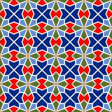 ottoman empire: Geometric seamless  pattern  white Turkish, Moroccan, Portuguese  tiles, Azulejo, Arabic ornament.