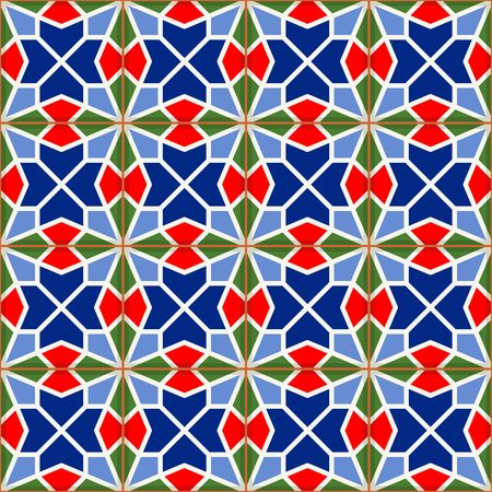 earthenware: Geometric seamless  pattern  white Turkish, Moroccan, Portuguese  tiles, Azulejo, Arabic ornament.