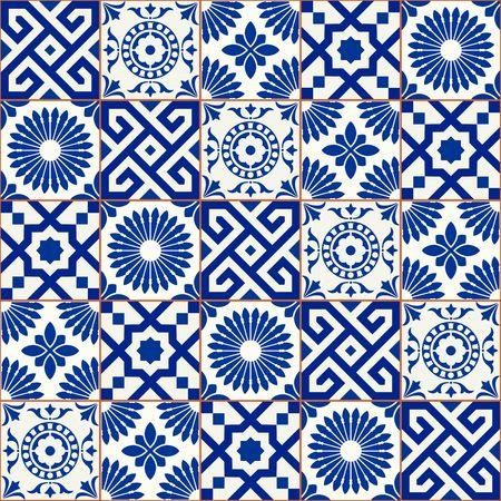 青のトレンディな色合いの 5 つのモロッコのタイルのスタイリッシュなシームレス パターン パッチワーク ミックス。