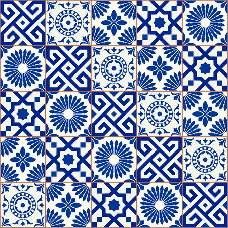 Stylish seamless pattern patchwork mix of five Moroccan tiles in trendy shades of blue.
