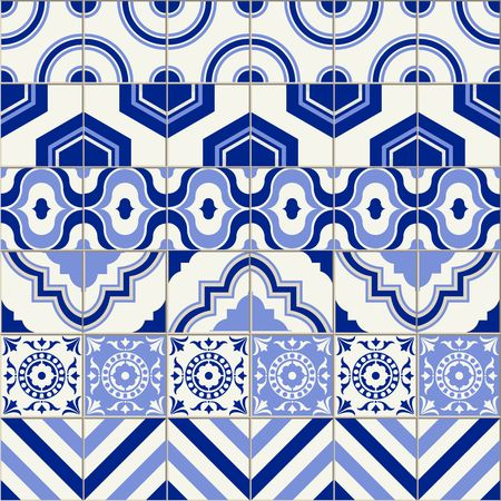 tiles floor: Stylish mega seamless pattern patchwork mix of six Moroccan tiles in trendy shades of blue. Illustration