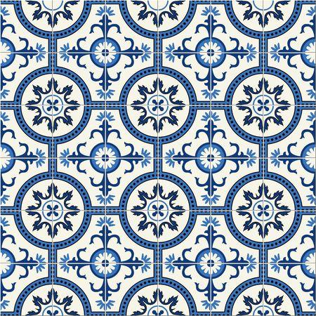 화려한 원활한 패턴 흰색 터키, 모로코, 포르투갈 타일, 아 줄레 주, 아랍어 장식.