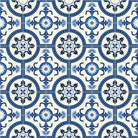 Gorgeous seamless  pattern  white Turkish, Moroccan, Portuguese  tiles, Azulejo, Arabic ornament.