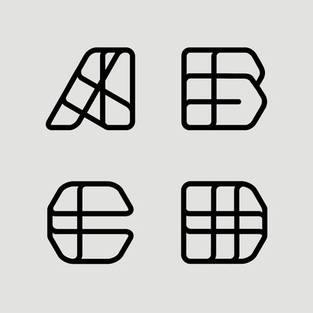 overlapping: Capital letters A, B, C, D. From  black stripe .  Template for  Logo, monogram, emblem. Trendy design.